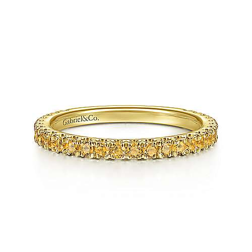 14k Yellow Gold Citrine Stackable