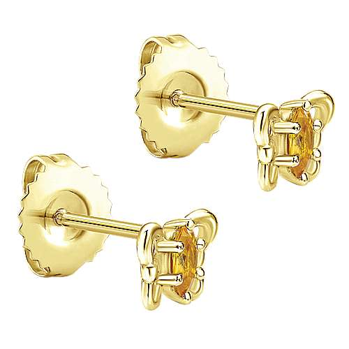 14k Yellow Gold Citrine Stud Earrings angle 2