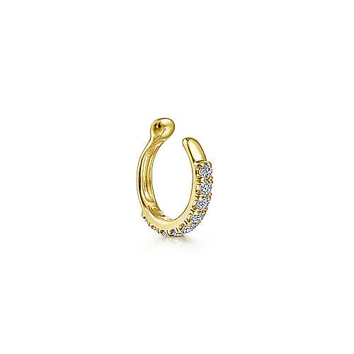 14k Yellow Gold Classic Diamond Earcuff Earring