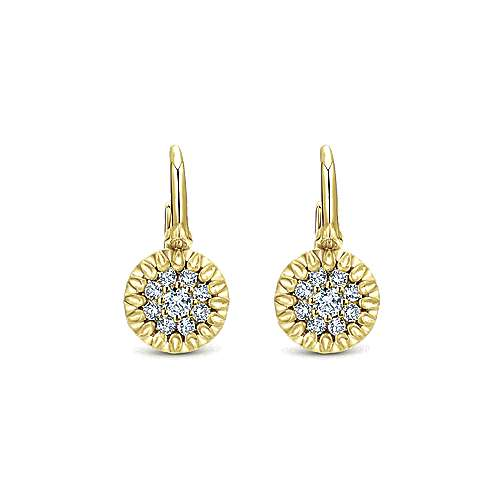 Gabriel - 14k Yellow Gold Clustered Diamonds Drop Earrings