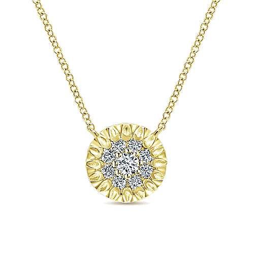 Gabriel - 14k Yellow Gold Clustered Diamonds Fashion Necklace