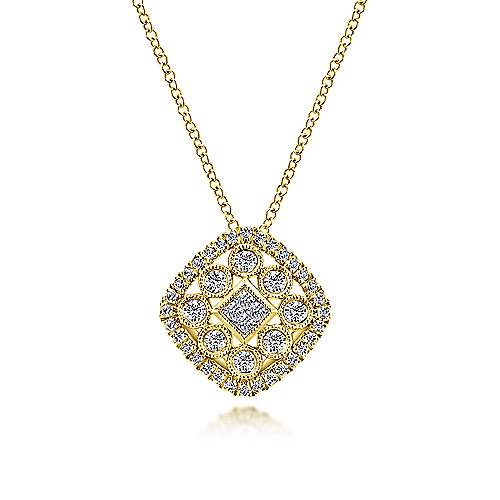 Gabriel - 14k Yellow Gold Clustered Diamonds Fashion Necklace