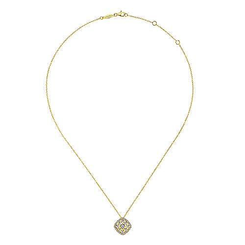 14k Yellow Gold Clustered Diamonds Fashion Necklace angle 2
