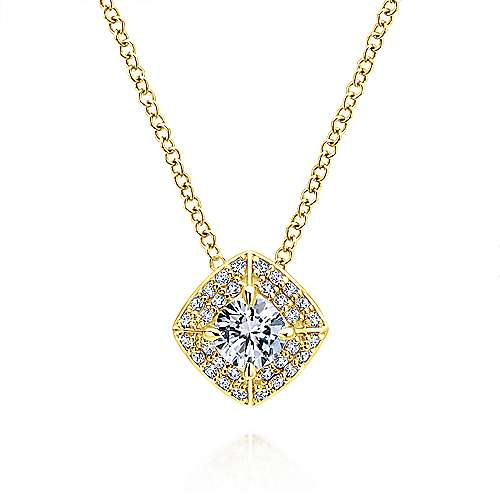 14k Yellow Gold Clustered Diamonds Fashion Necklace angle 1