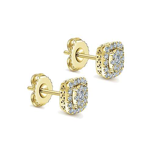 14k Yellow Gold Clustered Diamonds Stud Earrings angle 2