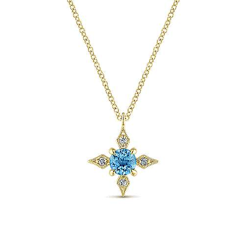 14k Yellow Gold Color Solitaire Fashion Necklace angle 1