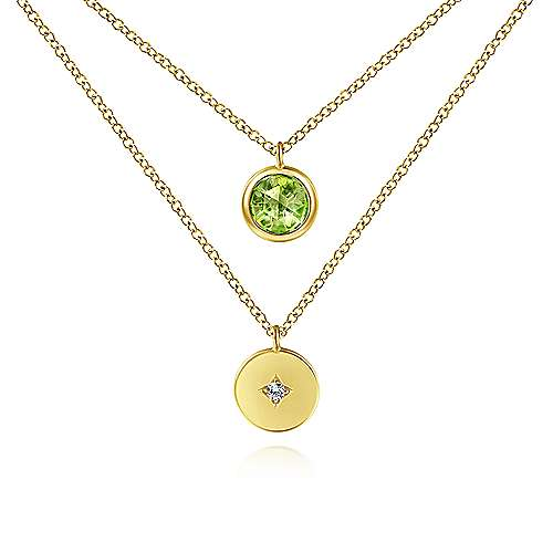 Gabriel - 14k Yellow Gold Color Solitaire Fashion Necklace