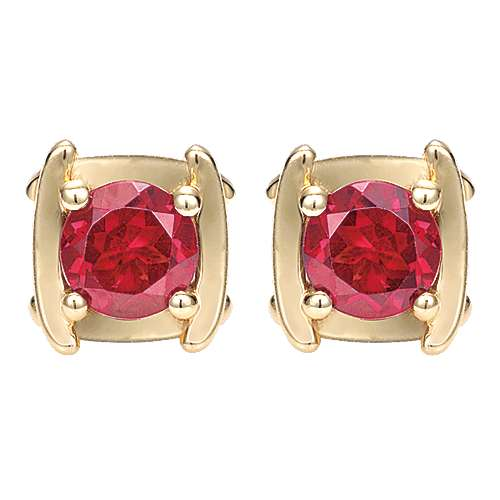 Gabriel - 14k Yellow Gold Color Solitaire Stud Earrings