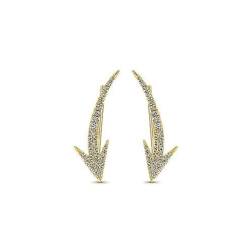 14k Yellow Gold Comets Ear Climber Earrings angle 1