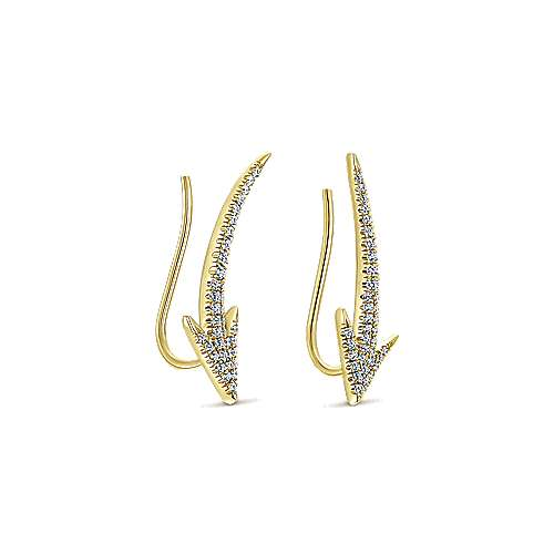 14k Yellow Gold Comets Ear Climber Earrings angle 2