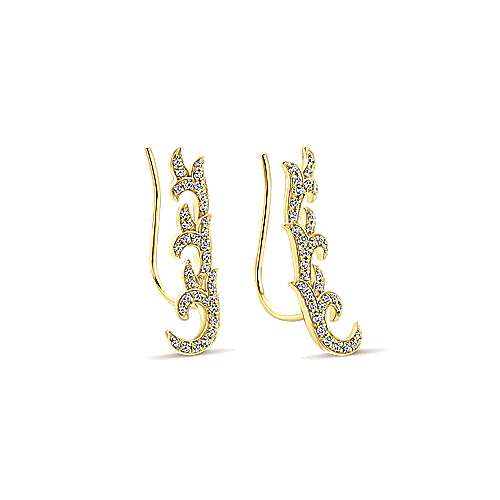 14k Yellow Gold Comets Earcuffs Earrings angle 2