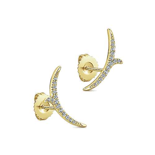 14k Yellow Gold Comets Stud Earrings angle 2