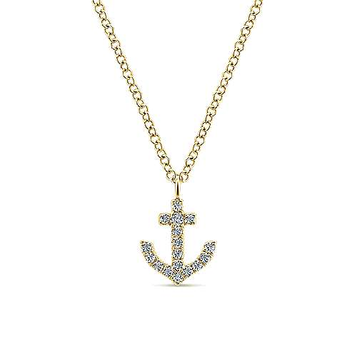 Gabriel - 14k Yellow Gold Contemporary Anchor Necklace