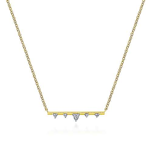 14k Yellow Gold Contemporary Bar Necklace