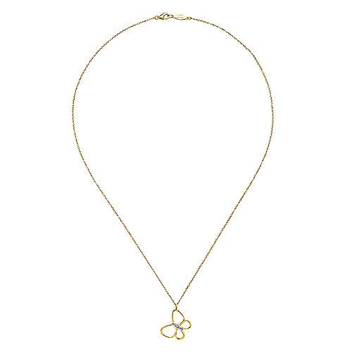 14k Yellow Gold Contemporary Butterfly Necklace angle 2