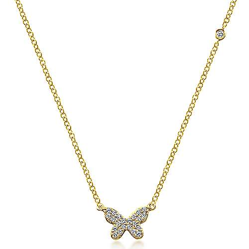 14k Yellow Gold Contemporary Butterfly Necklace