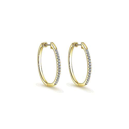 14k Yellow Gold Contemporary Classic Hoop Earrings