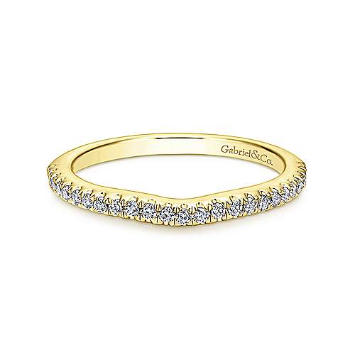 14k Yellow Gold Contemporary Curved Wedding Band