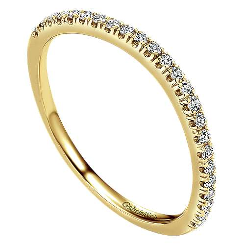 14k Yellow Gold Contemporary Curved Wedding Band angle 3