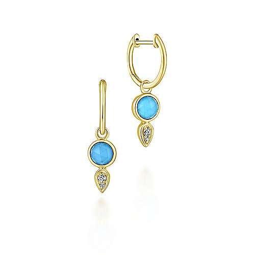 14k Yellow Gold Contemporary Drop Earrings angle 1