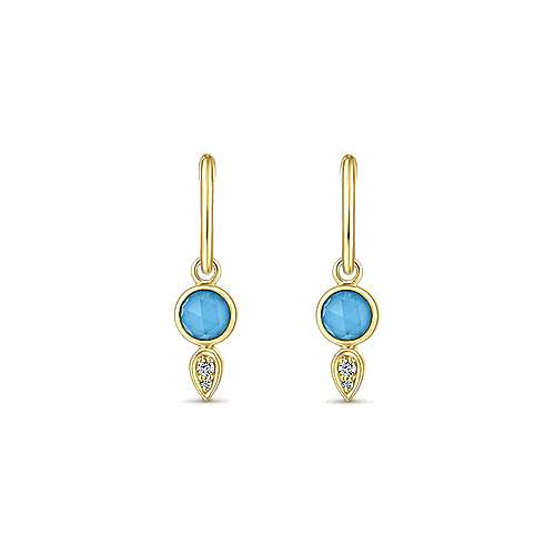 14k Yellow Gold Contemporary Drop Earrings angle 3