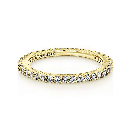 14k Yellow Gold Contemporary Eternity Band Anniversary Band angle 1