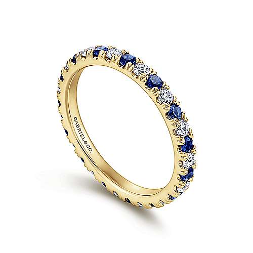 14k Yellow Gold Contemporary Eternity Band Anniversary Band