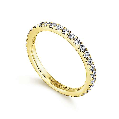 14k Yellow Gold Contemporary Eternity Band Anniversary Band angle 3