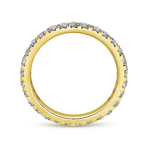 14k Yellow Gold Contemporary Eternity Band Anniversary Band angle 2