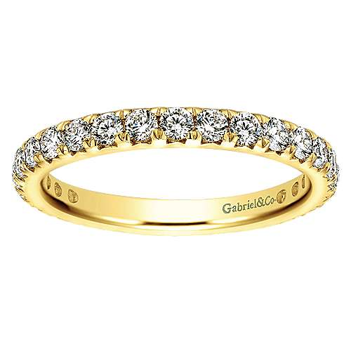 14k Yellow Gold Contemporary Eternity Band Anniversary Band angle 5