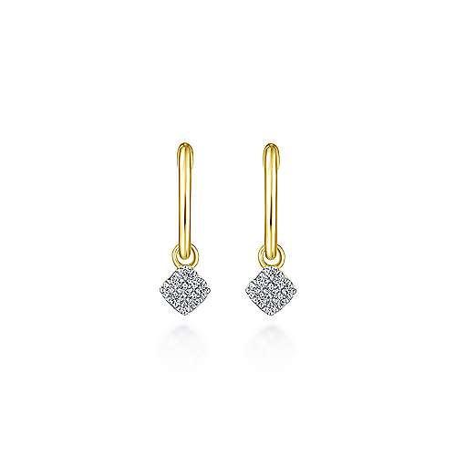 14k Yellow Gold Contemporary Huggie Drop Earrings angle 3