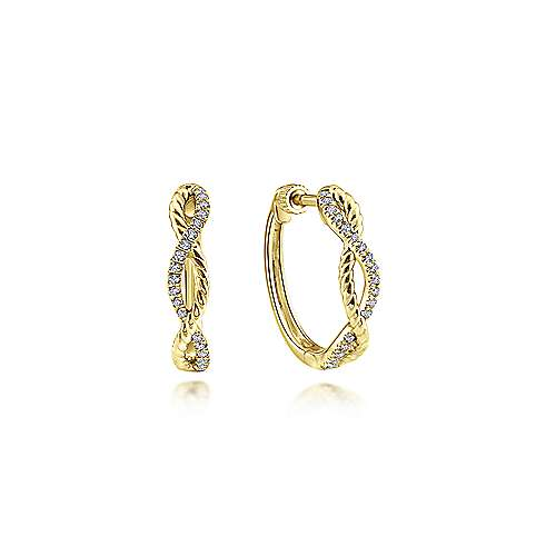 14k Yellow Gold Contemporary Huggie Earrings angle 1