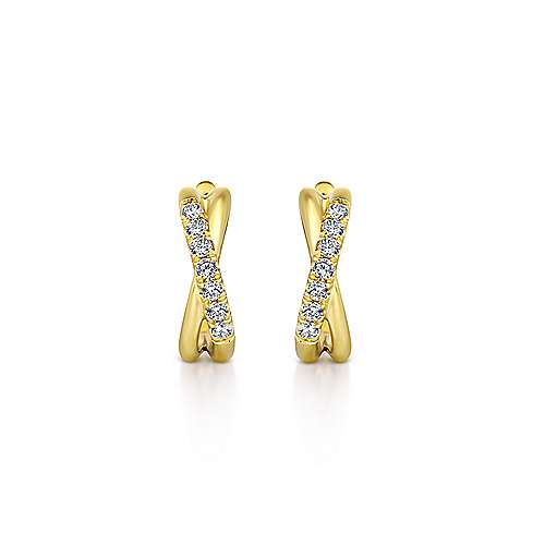 14k Yellow Gold Contemporary Huggie Earrings angle 3