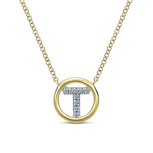14k Yellow Gold Contemporary Initial Necklace angle 1