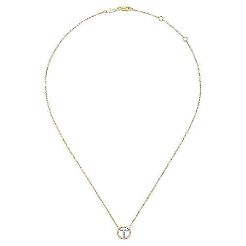 14k Yellow Gold Contemporary Initial Necklace angle 2