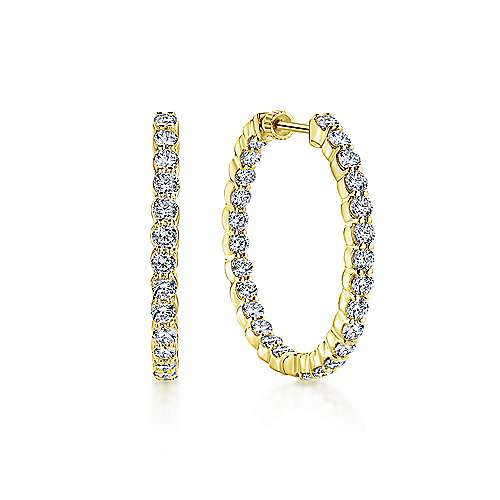 14k Yellow Gold Contemporary Inside Out Diamond Hoop Earrings