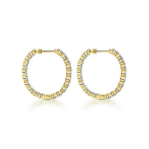 14k Yellow Gold Contemporary Inside Out Diamond Hoop Earrings angle 2