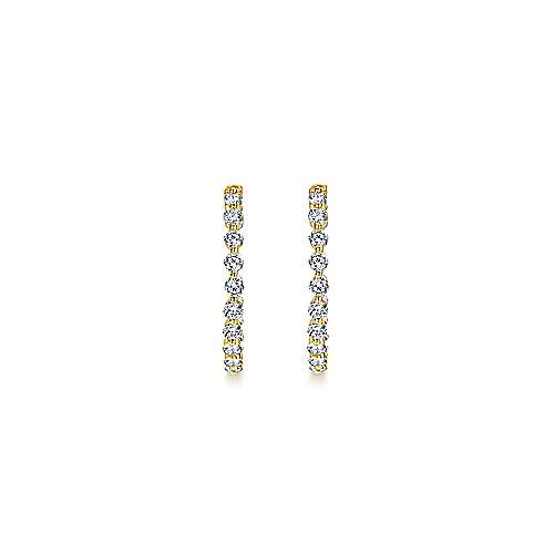 14k Yellow Gold Contemporary Inside Out Diamond Hoop Earrings angle 3