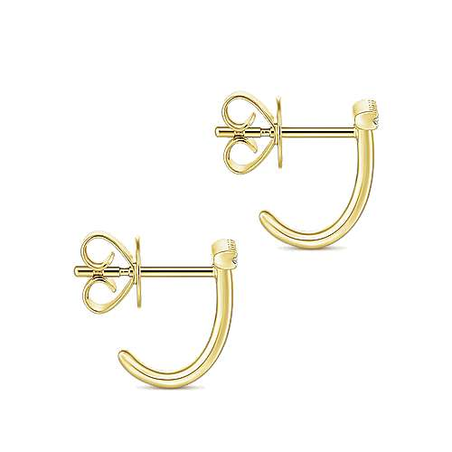 14k Yellow Gold Contemporary J Curve Earrings angle 3