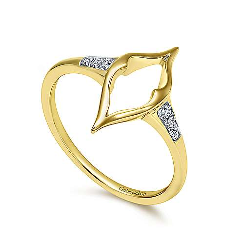 14k Yellow Gold Contemporary Midi Ladies' Ring angle 3