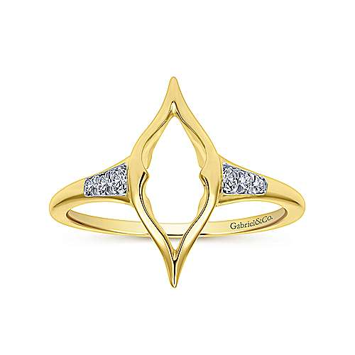 14k Yellow Gold Contemporary Midi Ladies' Ring angle 4