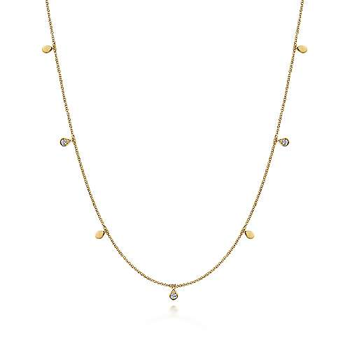 14k Yellow Gold Contemporary Station Necklace