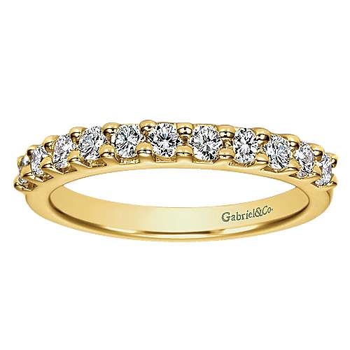 14k Yellow Gold Contemporary Straight Anniversary Band
