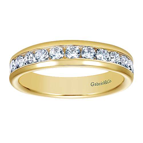 14k Yellow Gold Contemporary Straight Anniversary Band angle 5