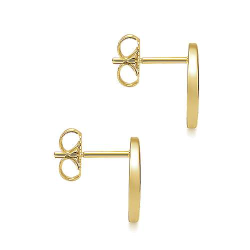 14k Yellow Gold Contemporary Stud Earrings angle 3
