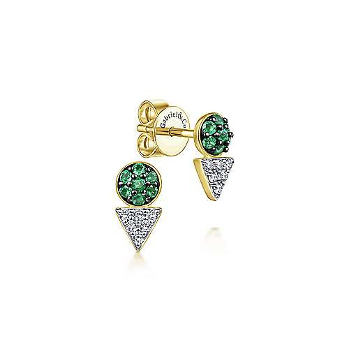 14k Yellow Gold Contemporary Stud Earrings angle 1