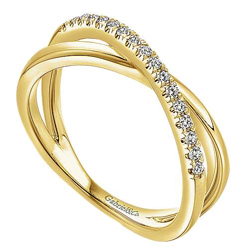 14k Yellow Gold Contemporary Twisted Ladies' Ring angle 3