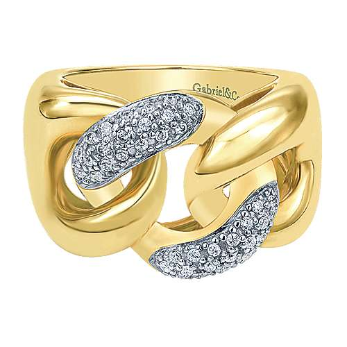 14k Yellow Gold Contemporary Twisted Ladies' Ring angle 1