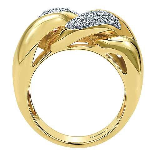 14k Yellow Gold Contemporary Twisted Ladies' Ring angle 2