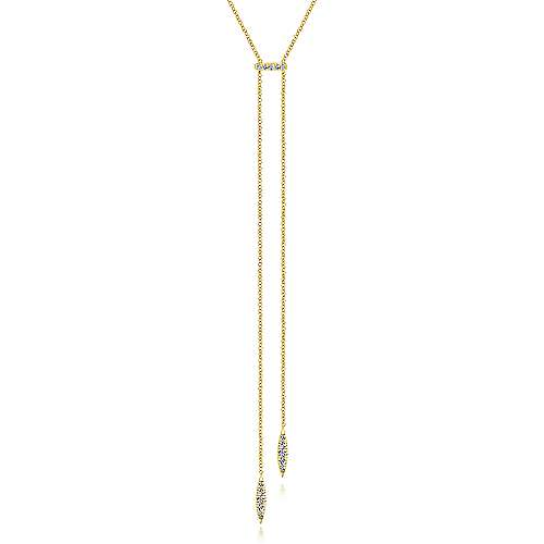 Gabriel - 14k Yellow Gold Contemporary Y Knots Necklace
